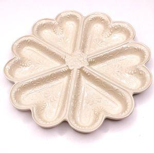 Vintage Porcelain Oyster Divided Heart Plate Dish